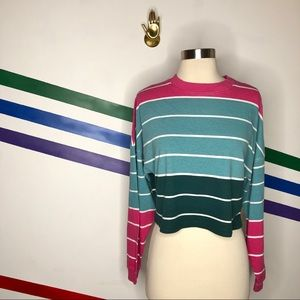 NEW Urban Outfitters cropped striped long sleeve